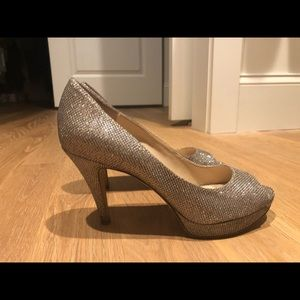 Enzo Angiolini silver/sparkle  3.5inch heels